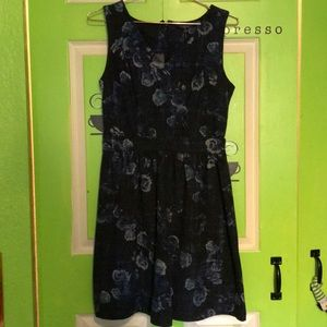 Blue and black floral dress.
